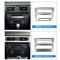 Carbon Fiber Air Condition AC CD Panel Cover Trim Sticker For BMW 3 series E90 E92 E93 05 12 For Low configuration car