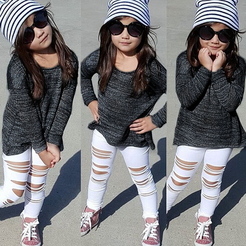2017 Spring Kids Child Girls Clothes Set Long Sleeve T-shirt Tops+Ripped Jeans Denim Pants 2pcs Fashion Outfits Set For 3-7Y girls baby long sleeve tops t shirt bib cartoon minnie 2pcs outfits set 1 5y