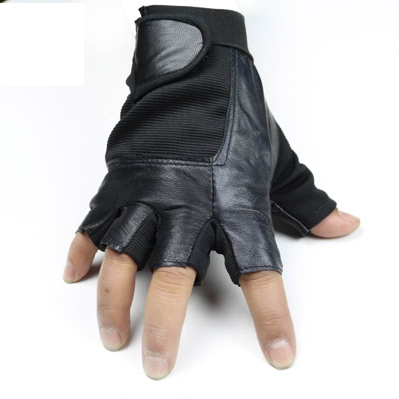 Half-finger leather gloves sheepskin men and women outdoor sports sunscreen slip breathable riding gloves black davs leopard pattern outdoor sports anti skid breathable half finger gloves w iron protection plate