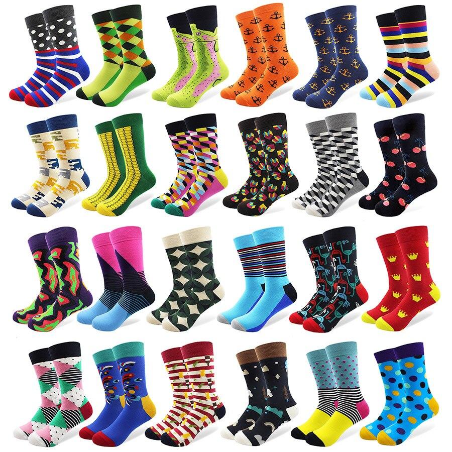 1 Pair Male Cotton   Socks   Colorful Striped Jacquard Art   Socks   Multi Pattern Long Happy Funny Skateboard   Socks   Men's Dress   Sock