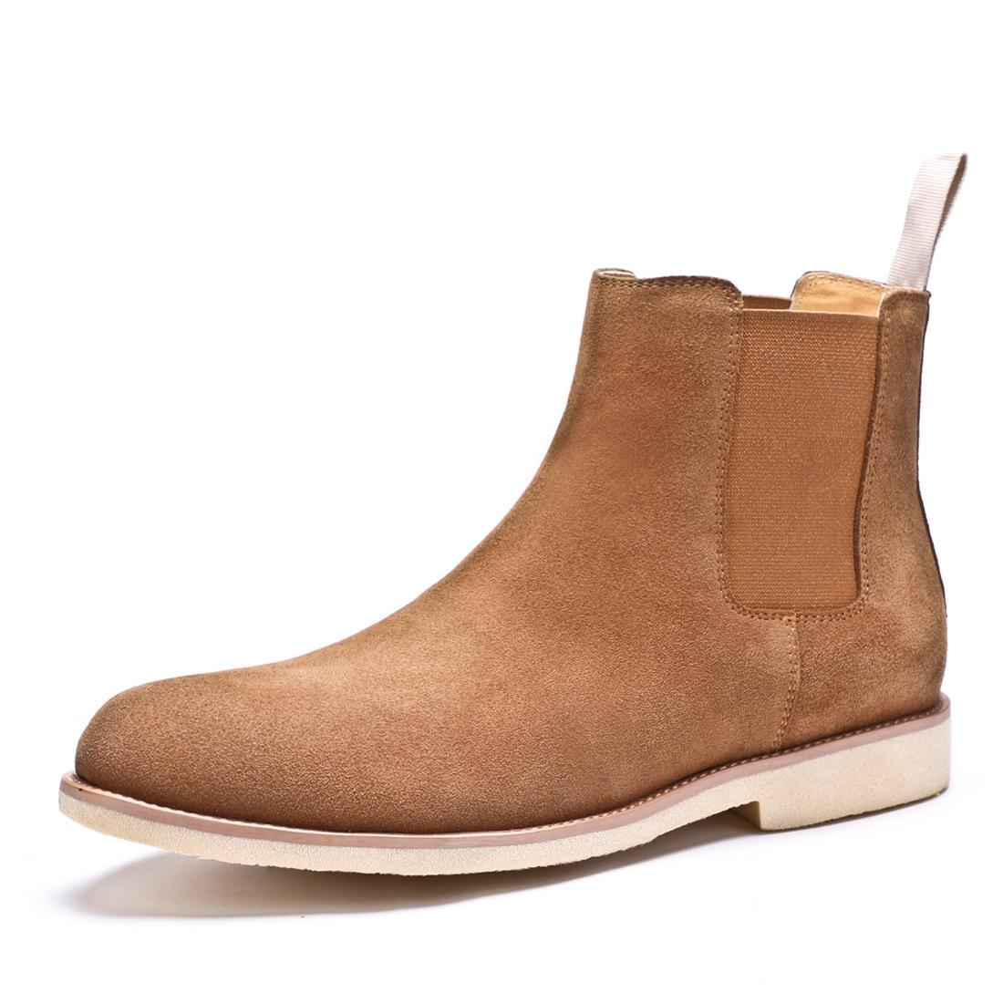 QYFCIOUFU 2019 NIEUWE Mannen Chelsea Laarzen Mode Suède Enkellaarsjes Mode mannen Merk Echt Lederen Slip Ons Man Werk laarzen Schoenen - 3