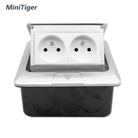 MiniTiger Aluminum Silver Panel French Standard Pop Up Double Floor Socket 2 Way Electrical Outlet Wall Switches