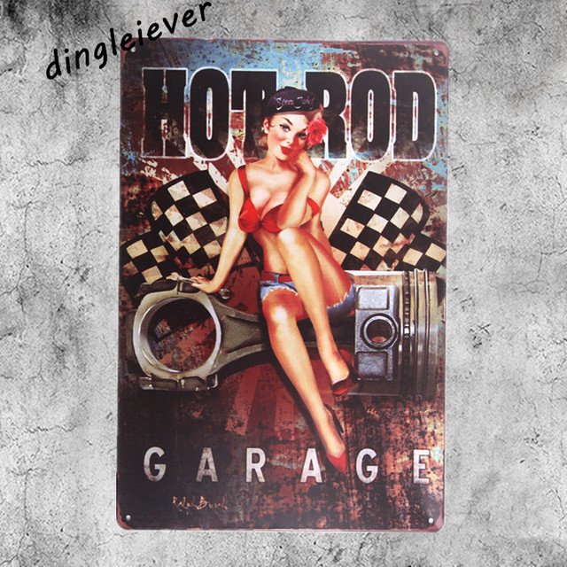 Hot Rod Garage Pin Up Metal Sign Home Decor Spark Plug Signs Bar Posters Shabby Chic