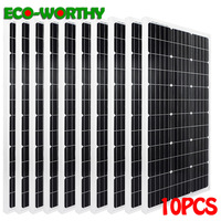 ECOworthy 1000W monocrystalline solar power panels 10pcs 100W 18V mono solar panels 1KW charge for 12V battery home off grid tie