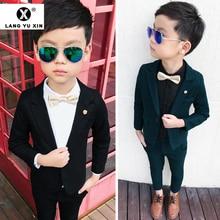 2Pcs Boys Suits Formal Blazer Pants Classic Fit Tuxedo Set W