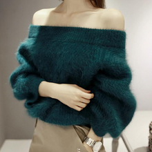 [XITAO] NEW autumn fashion solid color regular length loose form slash neck pullovers thickness full sleeve sweater JSB-013