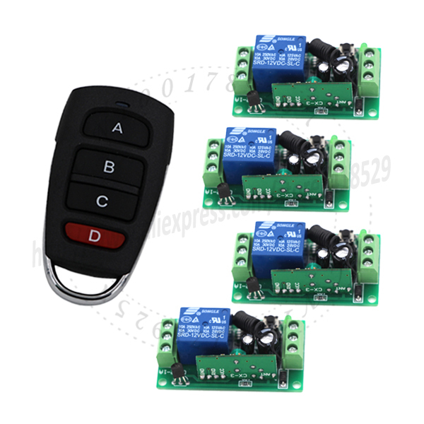 MITI-DC 12v 10A relay 4CH RF wireless remote switch wall 1 Transmitter+ 4 Receiver Fixed code 150m range SKU: 5100 12v dc 4ch relay 1 receiver