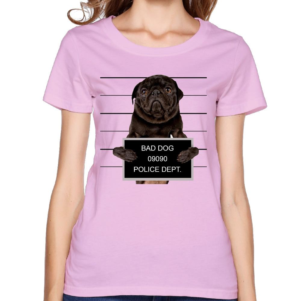 -Mugshot-в плохой-собака пользовательские хлопка печати o-образным вырезом с коротким розовая рубашка Для женщин милый хипстер футболка в стиле...