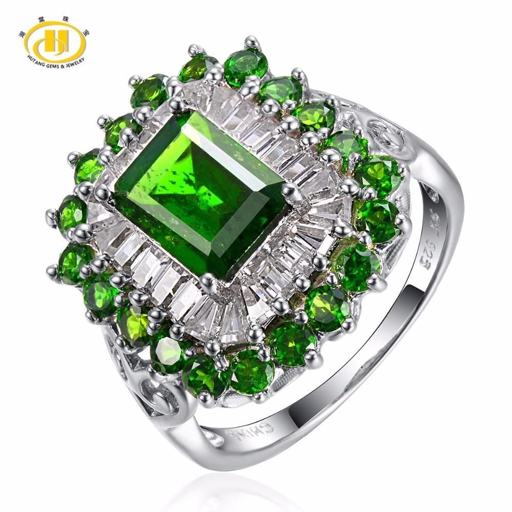 Bijoux en pierre Hutang solide 925 argent Sterling 2.50ct Chrome naturel Diopside bague de mariage bijoux de mode Fine pour cadeau de femmes