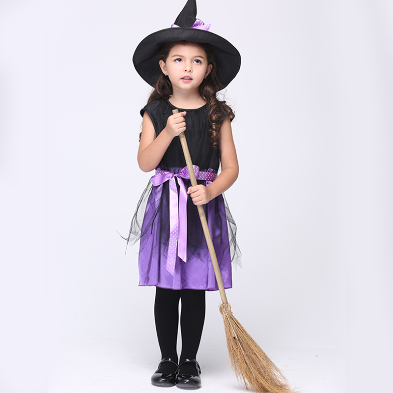 Witch Halloween Costume for Kids Sleeveless Black Children Clothes Mesh Ribbons Dresses Children Party Girls Cosplay Costume Hat black rose ornament bracelet ring for halloween costume party black 5pcs