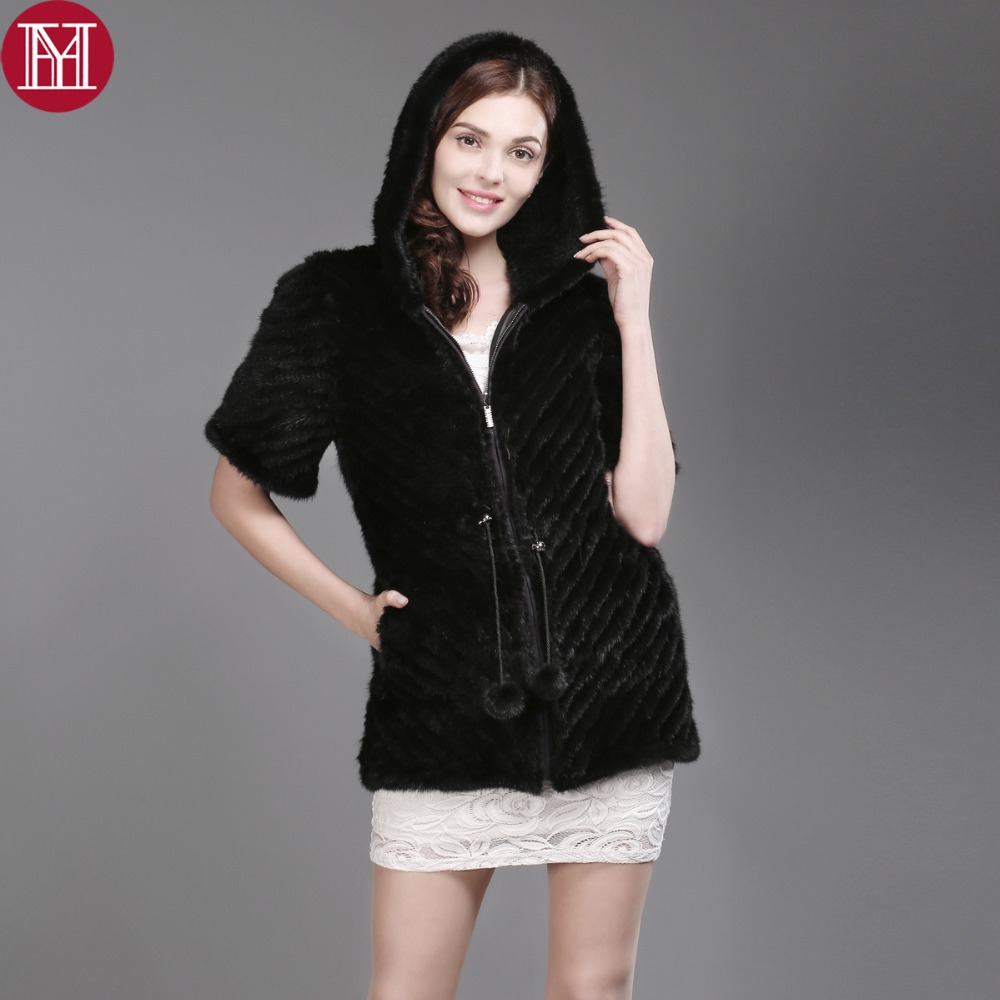 real natural mink fur jacket half-sleeve 100% genuine mink fur knitted coat female fashion winter warm outwear wholesale retail
