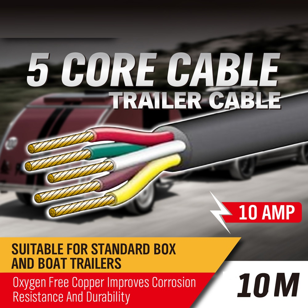 10m 5 Core Trailer Cable 25mm Train Wire Caravan Plug Socket Towing Wiring Narva 5852