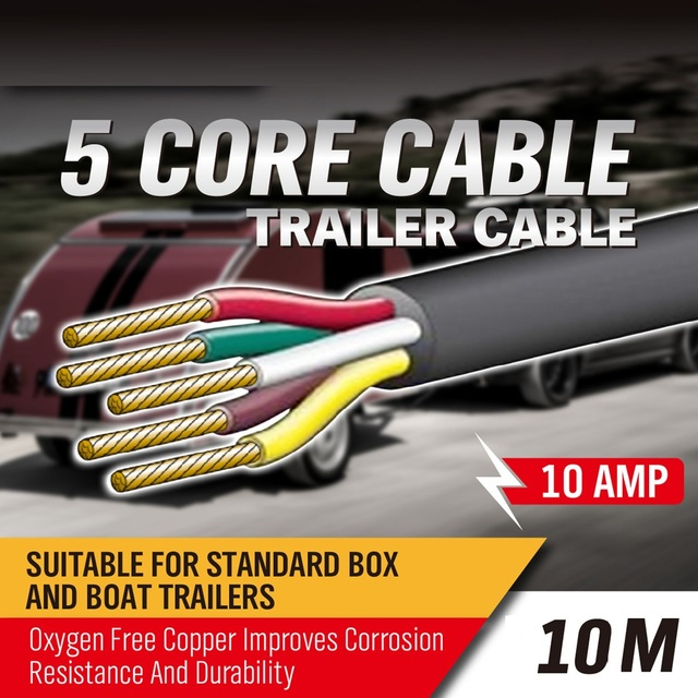 10M 5 Core Trailer Cable 2.5mm Train Wire Caravan Plug Socket Wiring ...