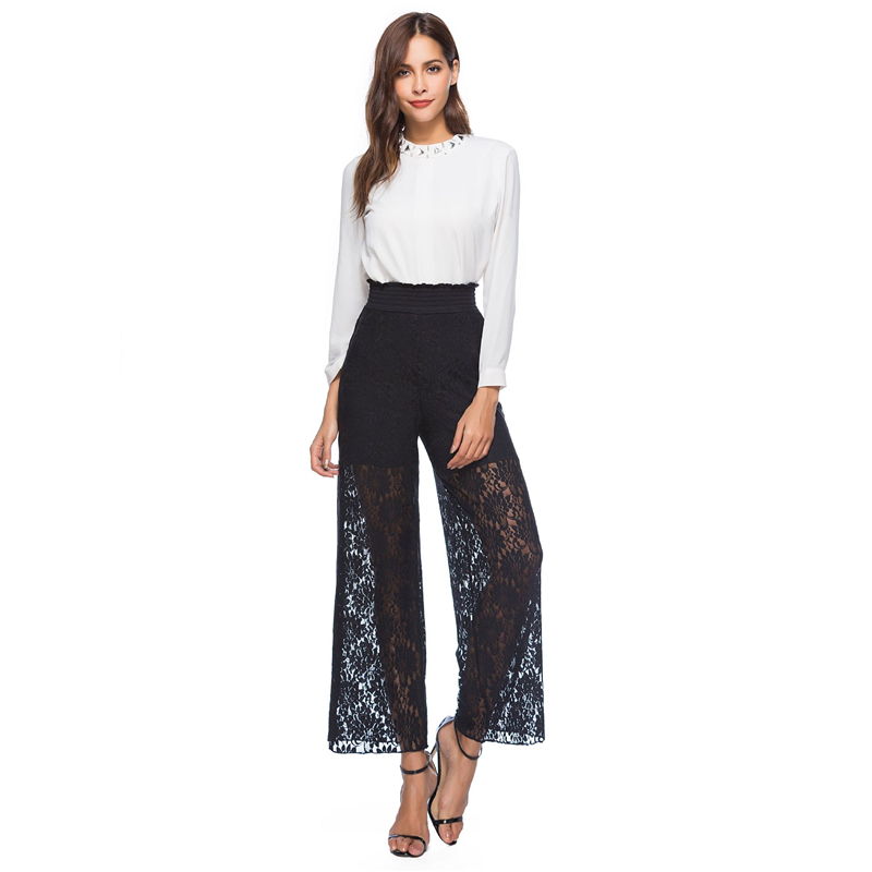 Women Loose   Wide     Leg     Pants   Lace Hollow Out Trim High Elastic Waist Female Summer Wear Casual Trousers