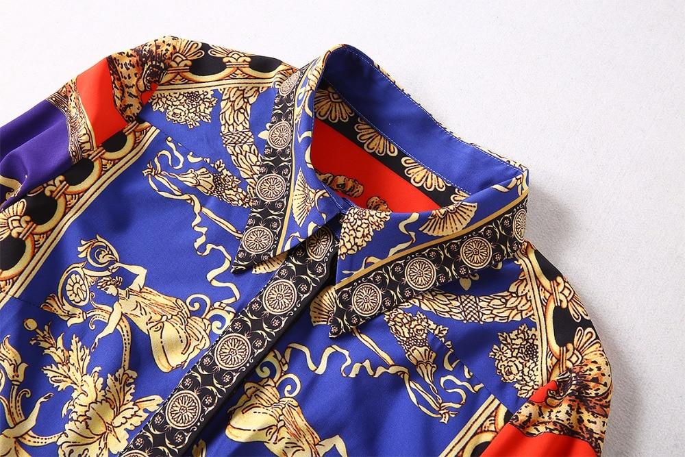 Arrivée Mi Jupe Costume De 2018 Pièce Imprimer Collar 2 Femmes Ensembles Manches Automne Nouvelle Pleine Turn down veau Plissée Haut qanaWwtEU