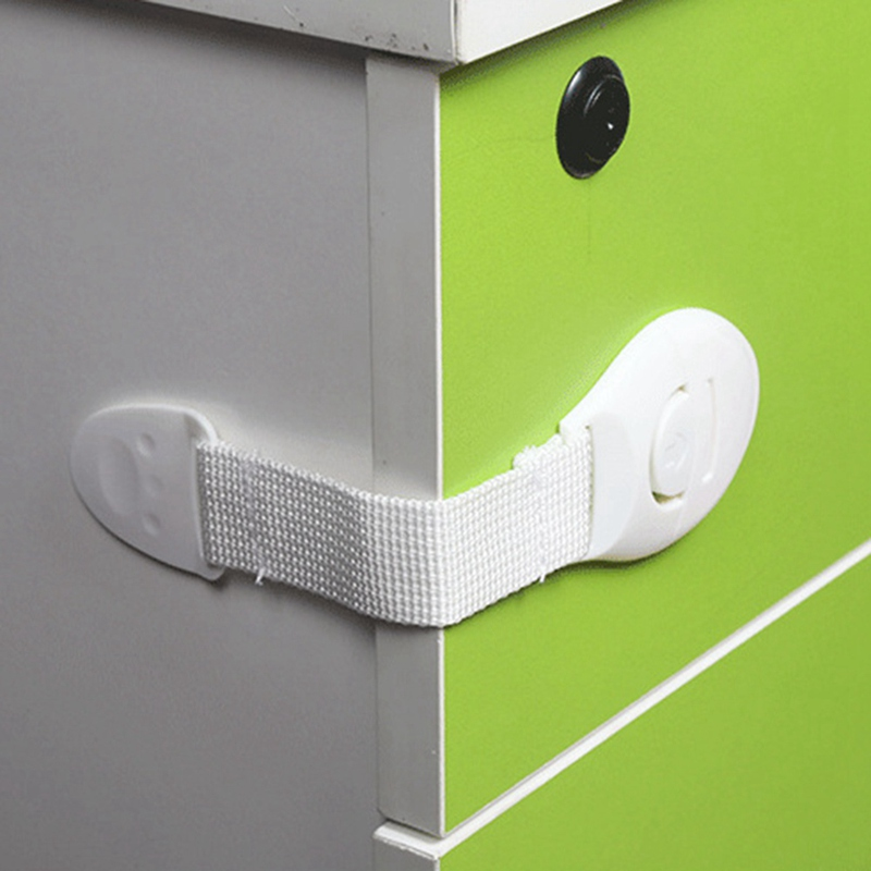 10pcs/Lot Drawer Door Cabinet Cupboard Toilet Safety Locks Baby Kids Safety Care Plastic Locks Straps Infant Baby Protection