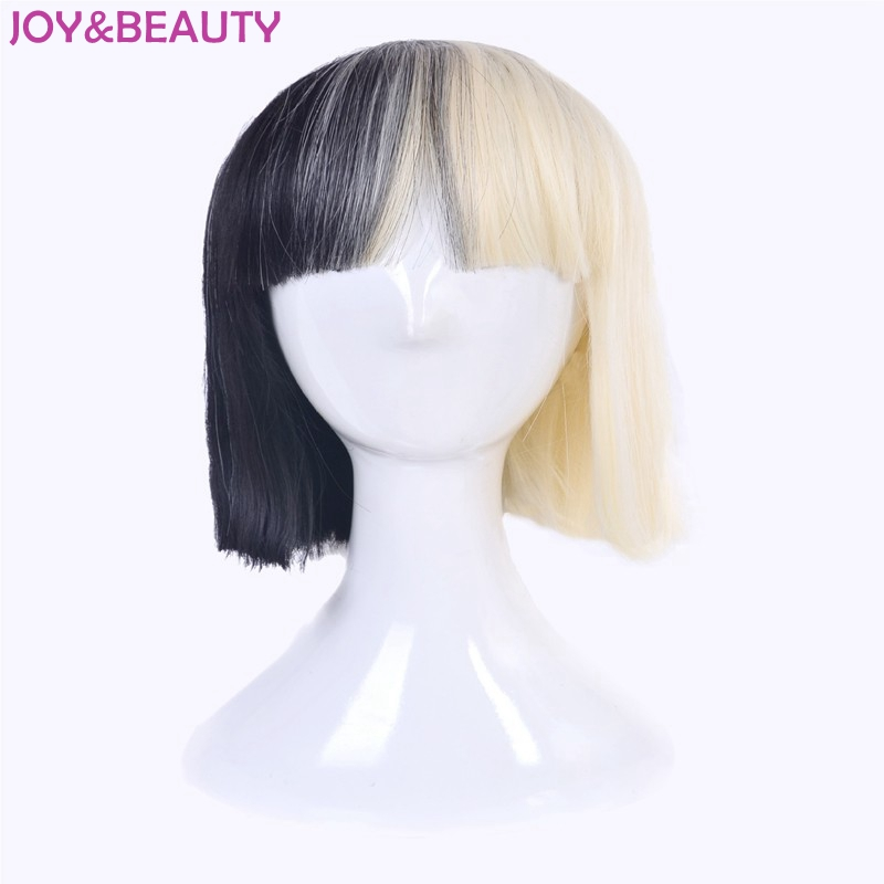 JOYBEAUTY Hair Womens Sia Wig Synthetic Medium Long Half Black And Blonde Cosplay Party
