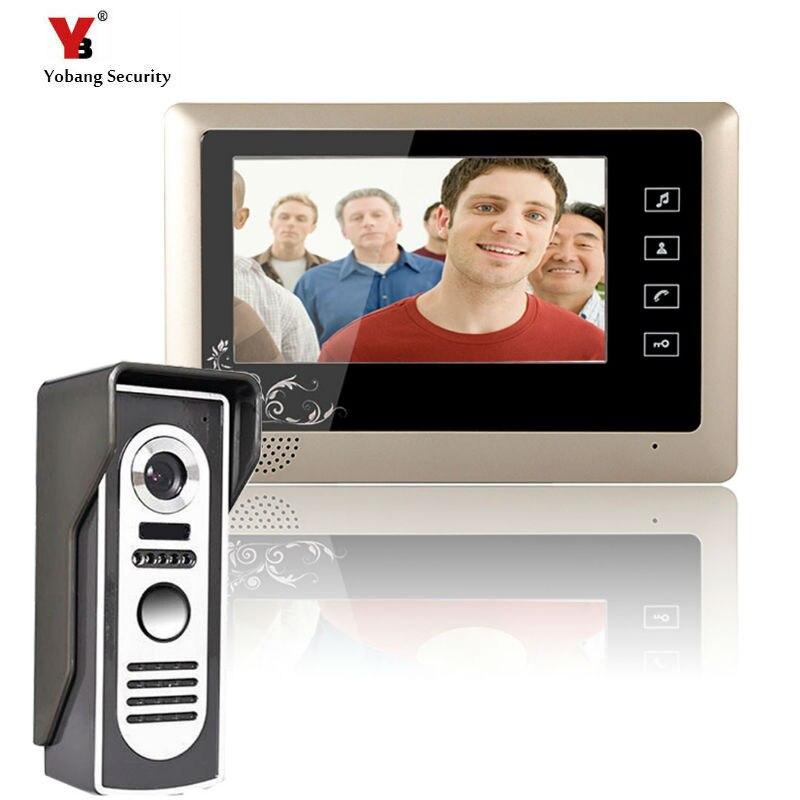 Yobang безопасности Водонепроницаемый ночного Версия камеры 7 дюймов видео-телефон двери системы проводной видео звонок Домофон управления