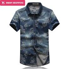 Männer Kleidung Verkauf Camisas Neue Sommer Mode Marke Männer Persönlichkeit Floral Jeans Hemd Slim Fit Kurzarm Denim Casual, gx270