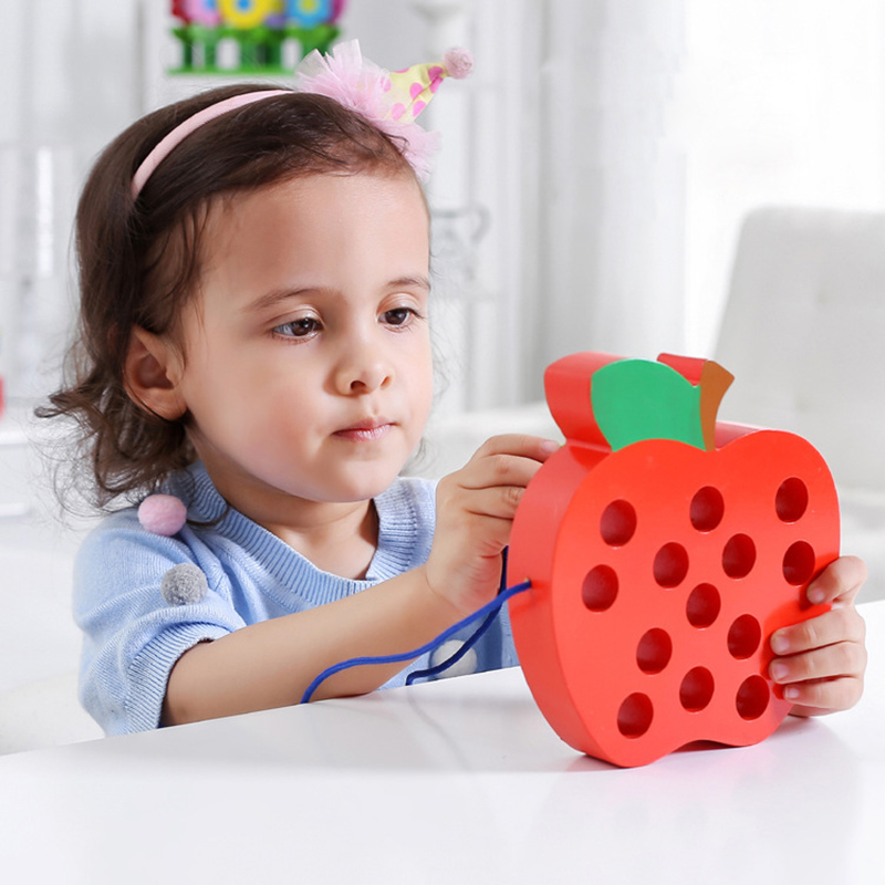 Threading Toy Insects Wear Rope Intersting Baby Puzzle Game Worm Eat Fruit Apple Watermelon Early Education Copy Baby Toys