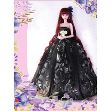 цена на Doll Black Cute Sleeveless Long Embroidery Evening Party Dress Skirt Princess Girl doll Dress Clothing Outfit for 1/3 BJD Dolls
