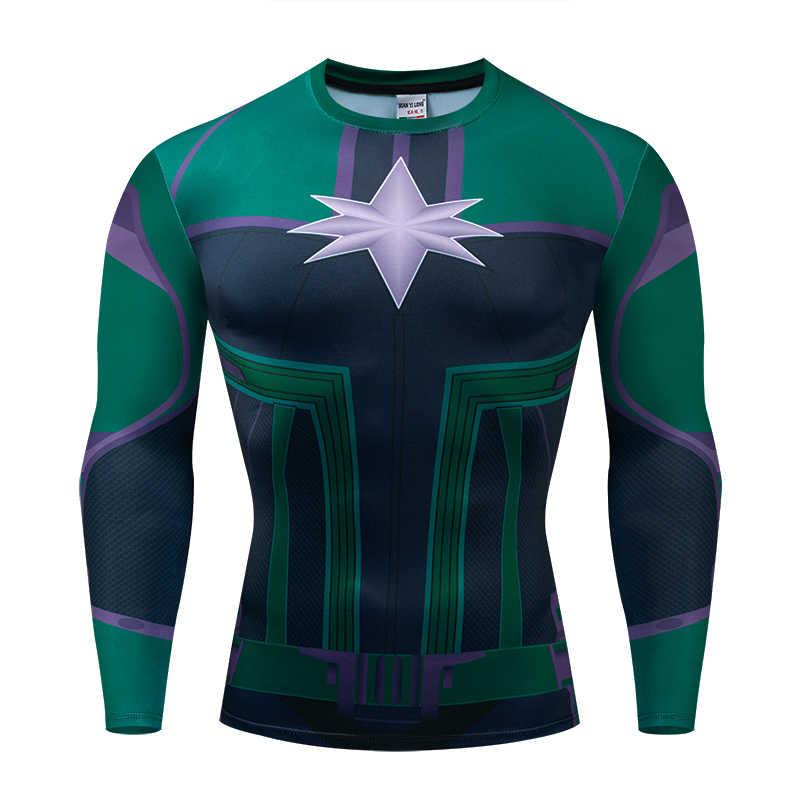 Новое поступление мужская и женская компрессионная рубашка 3D принт футболка фильм Марвел Капитан супергерой футболка с длинным рукавом Мужская спортивная одежда