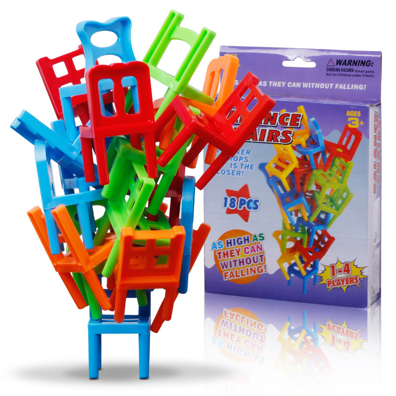 18Pcs Stacked chair Brick Plastic Balance Stacking Chairs Block Toy Desk Educational Balancing Game Training Toy Children's gift image