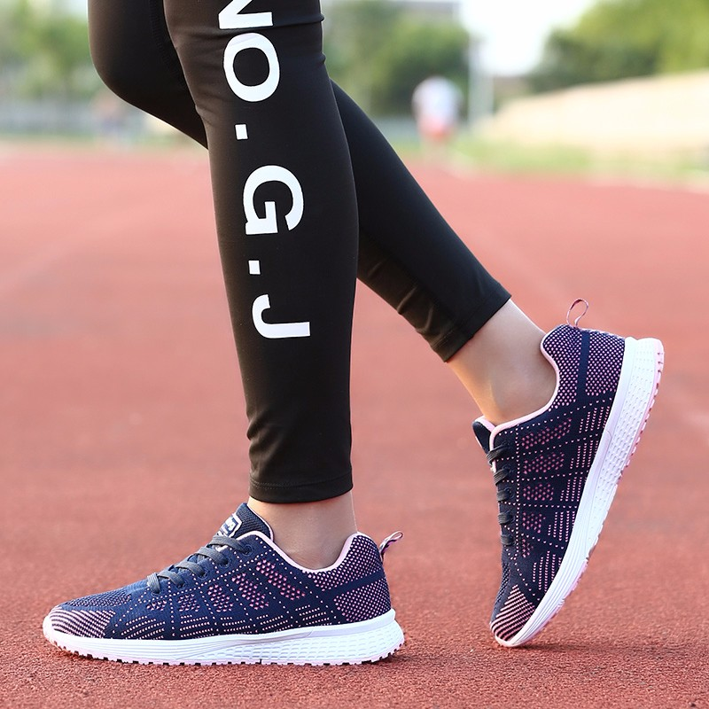 Fashion Women Shoes Breathable Air Mesh Trainers 2017 Spring New Low Toe Sport Casual Shoes Striped Lace Up Women Shoes YD145 (25)