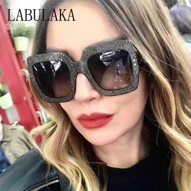 b74cef910b Rhinestone Sunglasses Women 2018 Fashion Oversized Diamond Square Frame  Crystal Sun Glasses Ladies Luxury Vintage Shades Eyewear