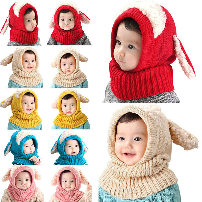 Winter Deer Baby Toddler Boy Girl Kids Warm Beanie Hat Ear Flap Cap Scarf