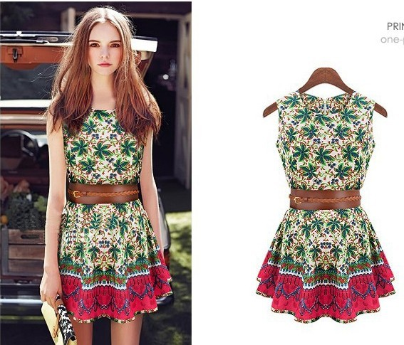 2014 New Summer Women Flower Print Dress Cute O Neck Mini Pleased Dress  Ebay Hot Selling Tank Dress xa159 33b60a2d04a6
