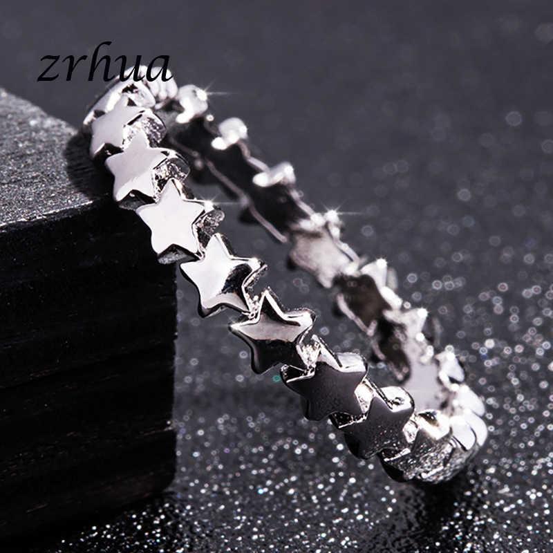 ZRHUA Marca 925 Anéis De Prata para As Mulheres Clássico Estrela Cheia de Jóias Vintage Anel Melhor Presente do Dia Dos Namorados Amantes promoção