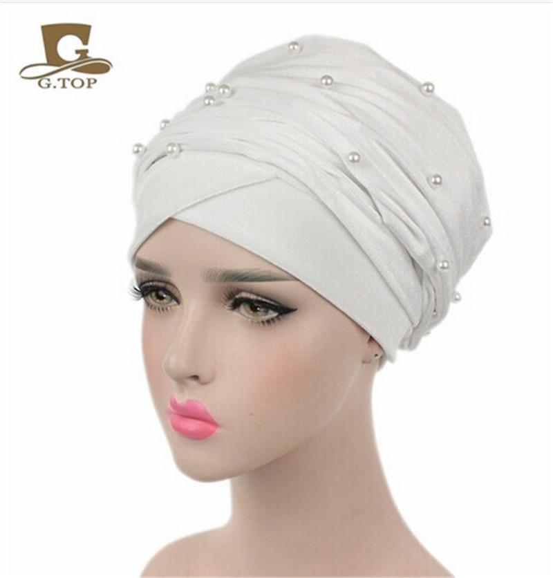 New luxury beaded pearled velvet turban long head scarf headwrap women muslim hijab Bandanas Hair Accessories 30