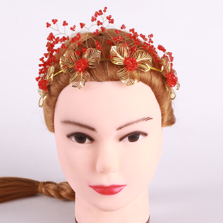 Haomang queen hair accessories handmade Chinese style gold red crystal gifts gifts hair accessories