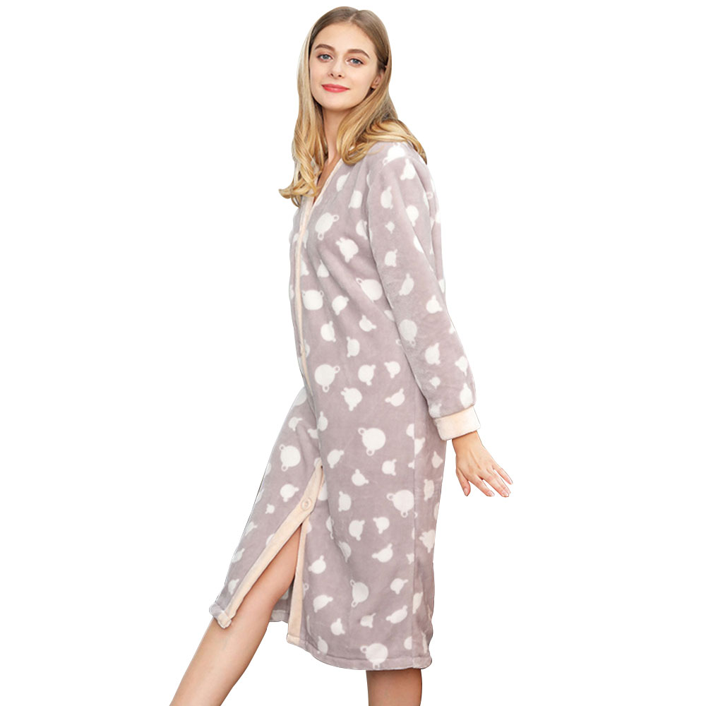 High Quality nightshirt Flannel Hooded Long Sleeve Adult Sleepwear Lounge wear Soft Comfortable Pajamas Lovely Girl Nightgown