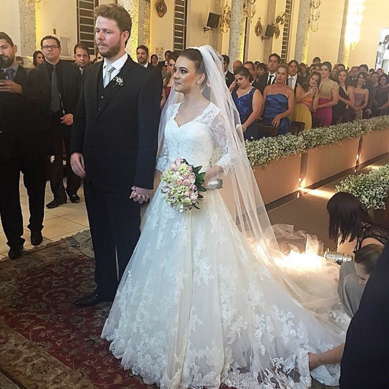 Custom made 2016 long sleeve white lace bridal gowns with for Long veil wedding dresses