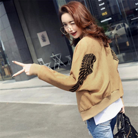 DoreenBow New High Quality Spring Autumn Seude Baseball Jacket Ladies Long Sleeve Embroidery Wings Women Coat