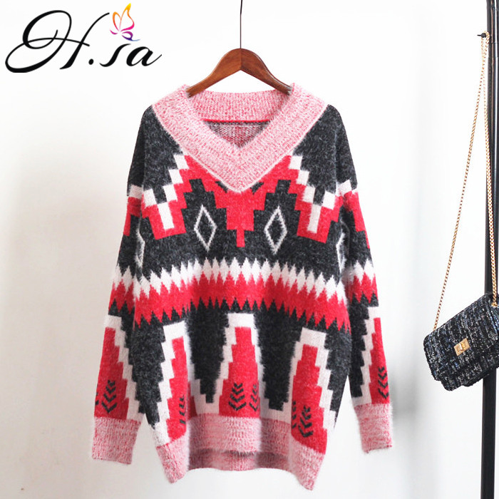 H.SA 2018 Vneck Casual Pull Femme Hiver Korean Style Loose Jumpers Spring New PullOvers Girls Geometric Print Pullover rainbow