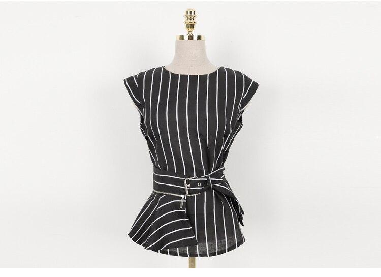 2018 Korean Summer Temperament Sleeveless Two Piece Set Stripe Fashion Wide Legging 2 Piece Set Women 12