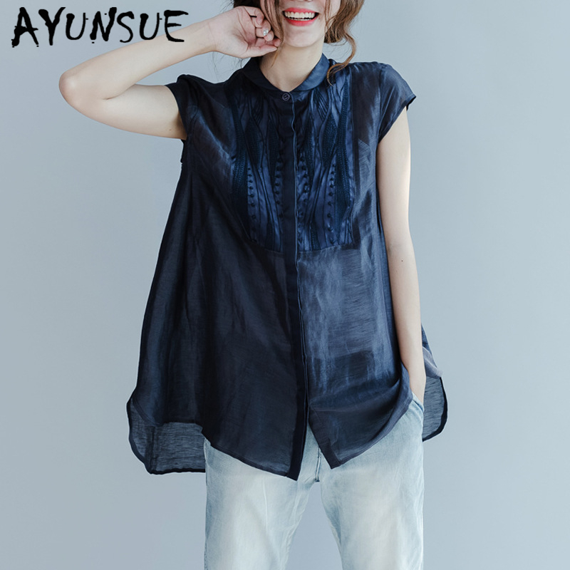AYUNSUE real silk women's blouse Summer fashion woman blouses 2020 korean loose chiffon embroidery shirt ladies tops blusas C106 image