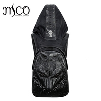 2017 Fashion Personality Wolf Embossing knife leather backpack rivets backpack with Hood cap apparel bag cross bags hiphop man