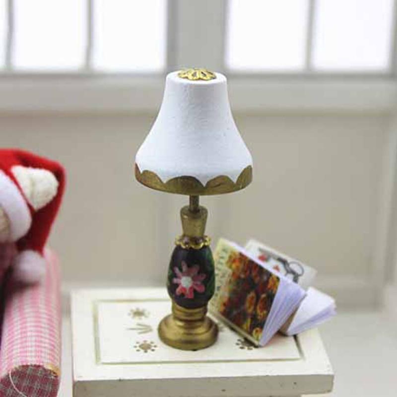 1:12 Scale Dollhouse Miniature Furniture Bronze Lampshade LED Desk Lamp