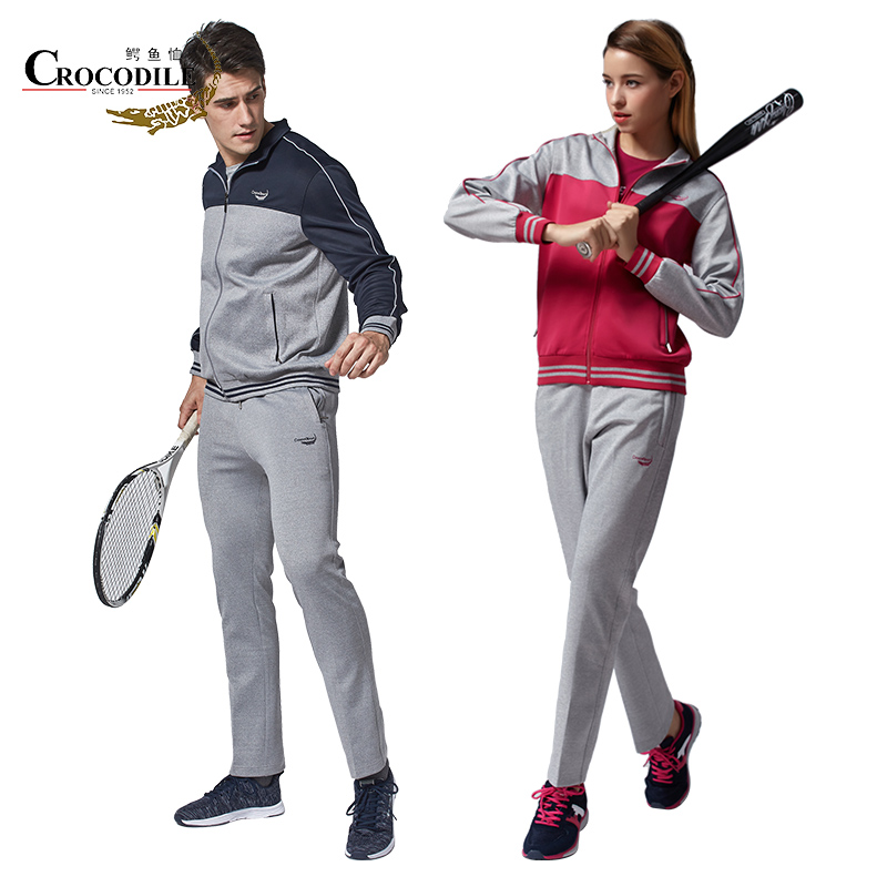 Crocosport Men Sportswear Student Lovers Suits Running Loose Sport Set Women Two Piece baseball Tracksuit Set lady Jersey set