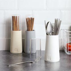 Kitchen Utensils Chopsticks Fork Spoon Draining Organizer Drainer Tableware Flatware Tools Holder With Lid