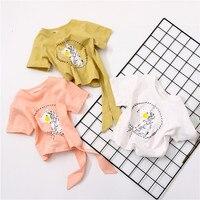 New Style Children Summer Short Sleeved T Shirt Female Baby Girl Cute Bow Cotton Tee Korean