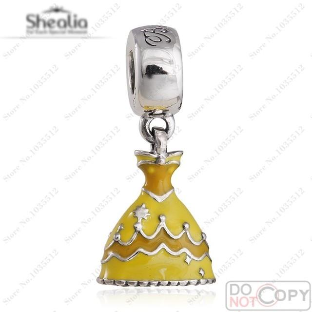 Yellow Enamel Belle Dress Charms Fit European Bracelets Authentic 925 Sterling Silver Dangle Belle Dress Charm Diy 2016 Jewelry