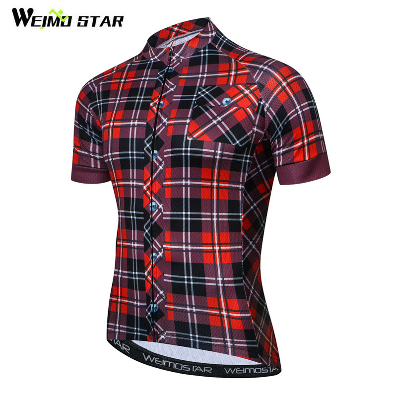 Weimostar Pro Team Grid Cycling Jersey Men Summer Short Sleeve Bicycle Cycling Clothing Quick Dry MTB Bike Jersey Ropa Ciclismo