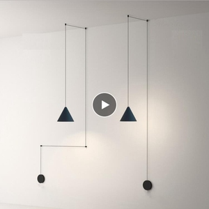 Long Wire Cone Shape Pendant Lamp Modern Light Black Metal Kitchen Island Hanging Lamp Bedside Suspension Lighting|Pendant Lights| |  -