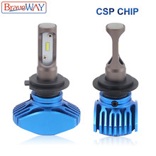 BraveWay H4 H7 Led Car Headlight Bulbs 12V 80W H8 H9 H11 Led Auto Lampada 12000LM 9005 HB3 9006 HB4 CSP Chip Led Fog Light 6500K(China)