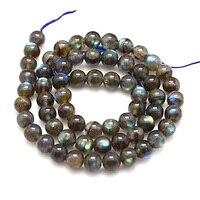 Natural Labradorite Beads Strands Grade AA Round Black 8mm Hole 1mm